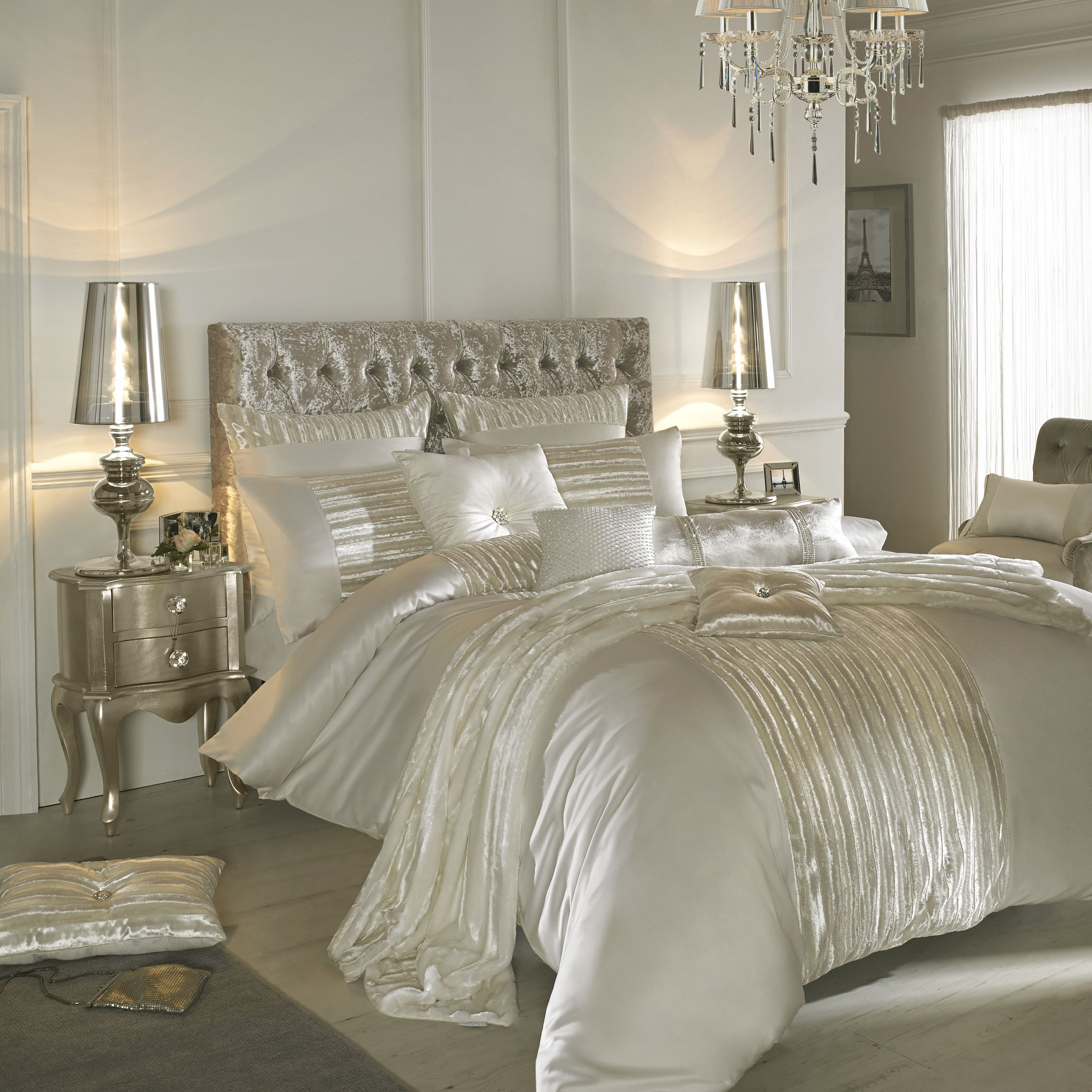 White and silver bedding ideas - Kylie Minogue Bedding Home Couture With Co Ordinating Throws Cushions Curtains
